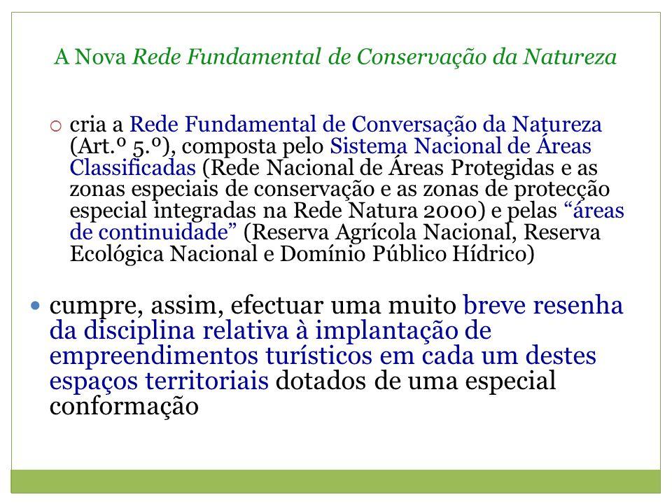 A Nova Rede Fundamental de Conservação da Natureza No que se refere à Rede Nacional de Áreas Protegidas, temos que nos parques nacionais e, sobretudo, nos parques naturais e nas paisagens protegidas, são enfatizadas as possibilidades de promover actividades que possibilitem o desenvolvimento do território, em consideração às necessidades das populações, designadamente no que se refere ao lazer (Art.ºs 16 n.º 2, 17.º n.º 2 e 19.º n.º 2) Diferentemente nas reservas naturais e nos monumentos naturais (Art.º 18.º e 20.º), assim como nas zonas de protecção integral (Art.º 22.º)