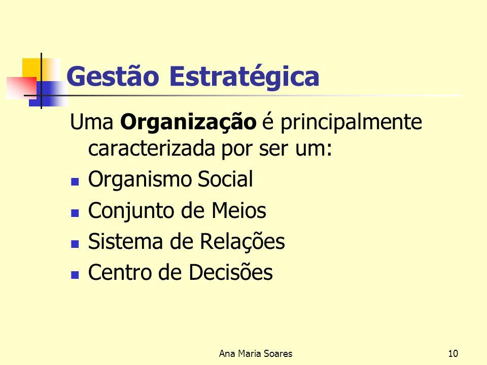 Ana Maria Soares9 Gestão Estratégica Condicionalismos empresariais: - Globalização - Intensificação da Concorrência - Exigência dos Clientes