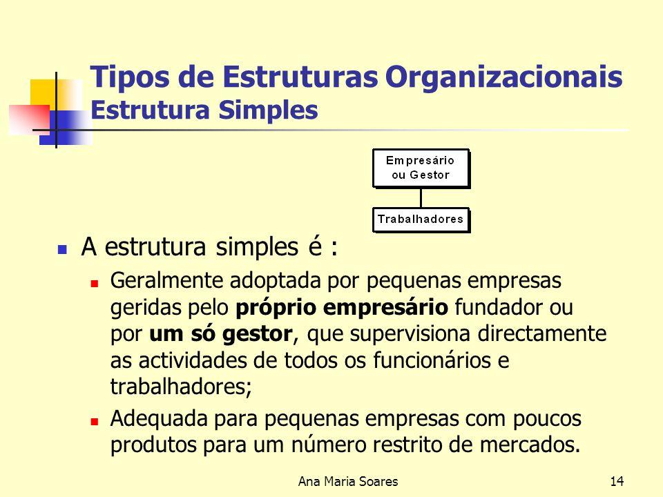 Ana Maria Soares13 Tipos de Estruturas Organizacionais Macro estruturas Básicas Estrutura Simples Estrutura Funcional Estrutura Divisional Macro estruturas Avançadas Estrutura por Unidades Estratégicas de Negócios Estrutura de Holding (ou conglomerados) Estrutura Matricial Estrutura em Rede