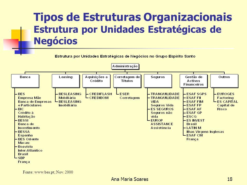 Ana Maria Soares17 Tipos de Estruturas Organizacionais Estrutura por Unidades Estratégicas de Negócios Adequada a grandes empresas, com uma grande variedade de operações, num número restrito de negócios.