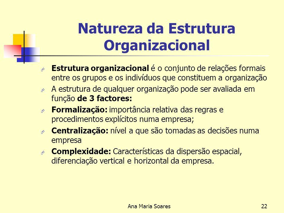 Ana Maria Soares21 Tipos de Estruturas Organizacionais Estrutura em Rede SEDE Empresa Externa Empresa Externa Empresa
