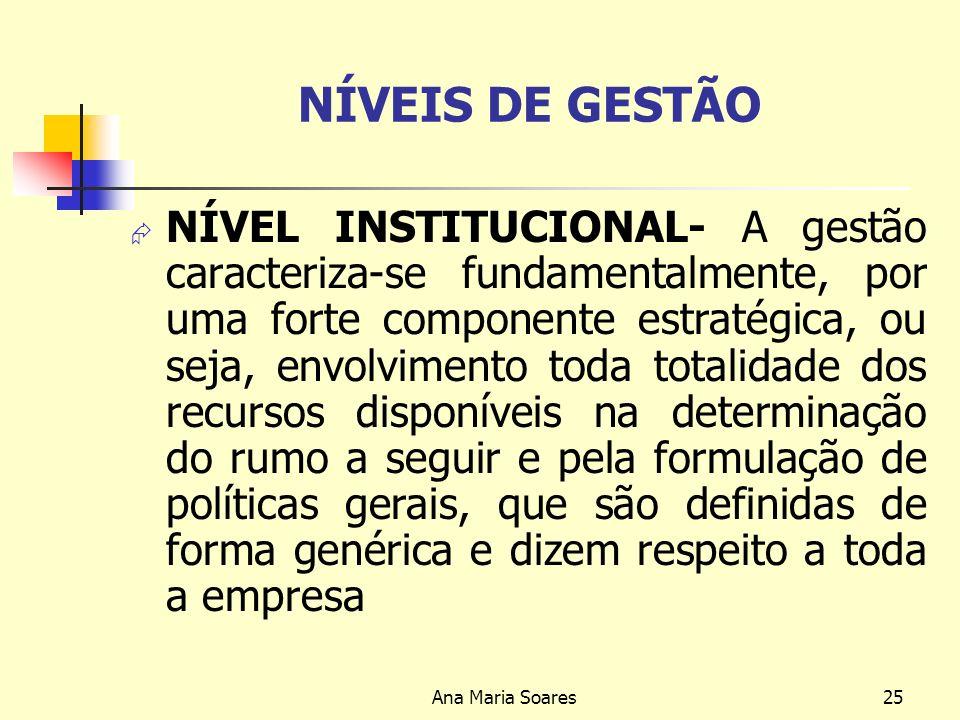 Ana Maria Soares24 Gestão Estratégica Níveis de Gestão