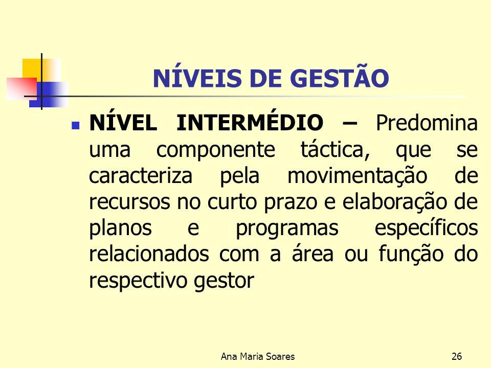 Ana Maria Soares25 NÍVEIS DE GESTÃO NÍVEL INSTITUCIONAL- A gestão caracteriza-se fundamentalmente, por uma forte componente estratégica, ou seja, envo