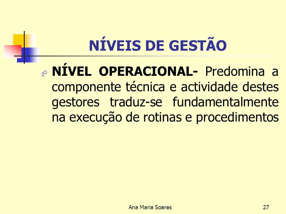 Ana Maria Soares26 NÍVEIS DE GESTÃO NÍVEL INTERMÉDIO – Predomina uma componente táctica, que se caracteriza pela movimentação de recursos no curto pra