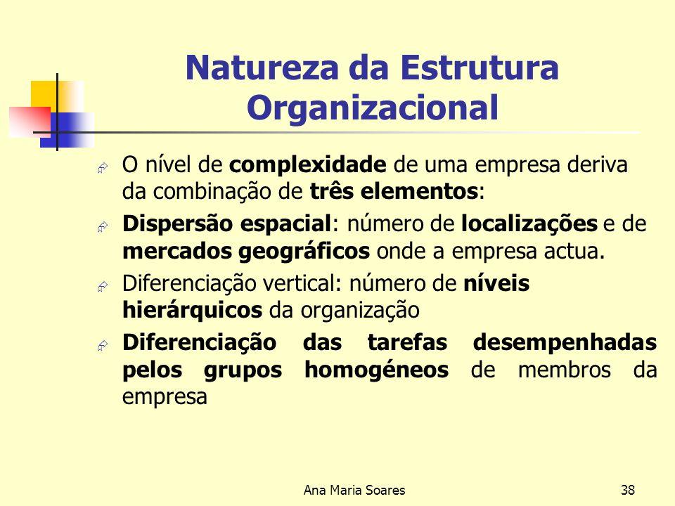 Ana Maria Soares37 Natureza da estrutura Organizacional Uma organização é tanto mais centralizada quanto mais elevado for o nível hierárquico onde as decisões são tomadas.