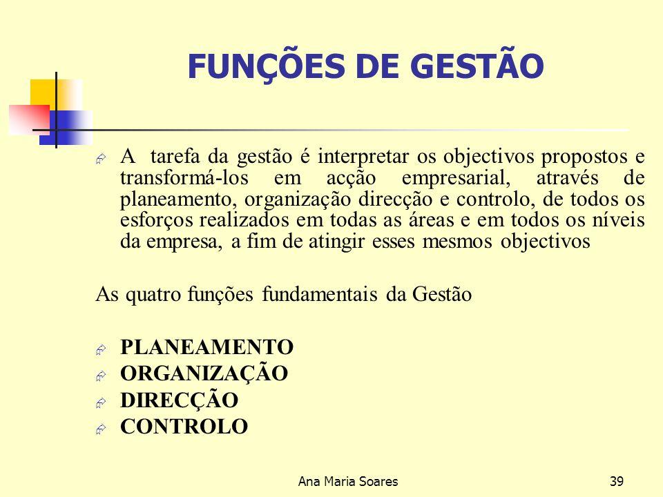 Ana Maria Soares38 Natureza da Estrutura Organizacional O nível de complexidade de uma empresa deriva da combinação de três elementos: Dispersão espacial: número de localizações e de mercados geográficos onde a empresa actua.