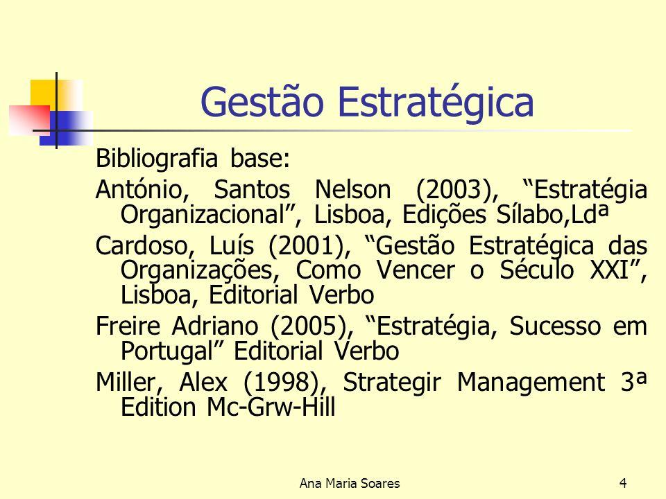 Ana Maria Soares3 Gestão Estratégica Programa -Sentido e alcance do conceito de estratégia da organização -Fundamentos da análise estratégica -Processo de elaboração de estratégica e planeamento -Desafios actuais à estratégia empresarial