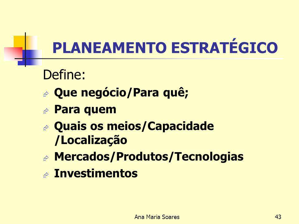 Ana Maria Soares42 GESTÃO ESTRATÉGICA Níveis de Planeamento: -ESTRATÉGICO -TÁCTICO -OPERACIONAL