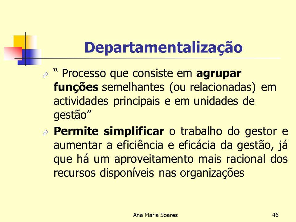Ana Maria Soares45 PLANEAMENTO OPERACIONAL Define: Acções para satisfação da procura