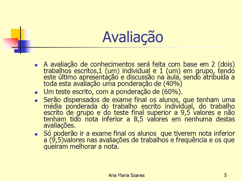 Ana Maria Soares4 Gestão Estratégica Bibliografia base: António, Santos Nelson (2003), Estratégia Organizacional, Lisboa, Edições Sílabo,Ldª Cardoso, Luís (2001), Gestão Estratégica das Organizações, Como Vencer o Século XXI, Lisboa, Editorial Verbo Freire Adriano (2005), Estratégia, Sucesso em Portugal Editorial Verbo Miller, Alex (1998), Strategir Management 3ª Edition Mc-Grw-Hill