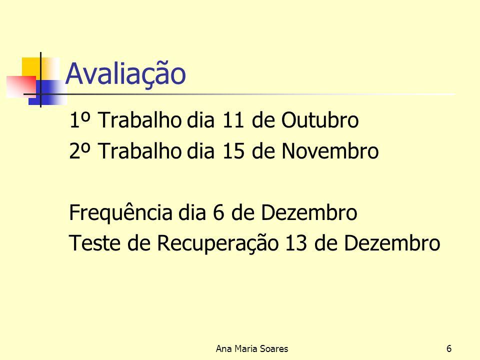 Ana Maria Soares5 Avaliação A avaliação de conhecimentos será feita com base em 2 (dois) trabalhos escritos,1 (um) individual e 1 (um) em grupo, tendo este último apresentação e discussão na aula, sendo atribuída a toda esta avaliação uma ponderação de (40%) Um teste escrito, com a ponderação de (60%).