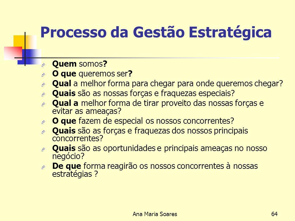 Ana Maria Soares63 NÍVEIS DE PODER DE DECISÃO ESTRATÉGICA DIRECÇÃO GESTORES OPERACIONAIS DIRECÇÃO GESTORES OPERACIONAIS