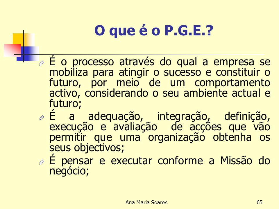 Ana Maria Soares64 Processo da Gestão Estratégica Quem somos? O que queremos ser? Qual a melhor forma para chegar para onde queremos chegar? Quais são