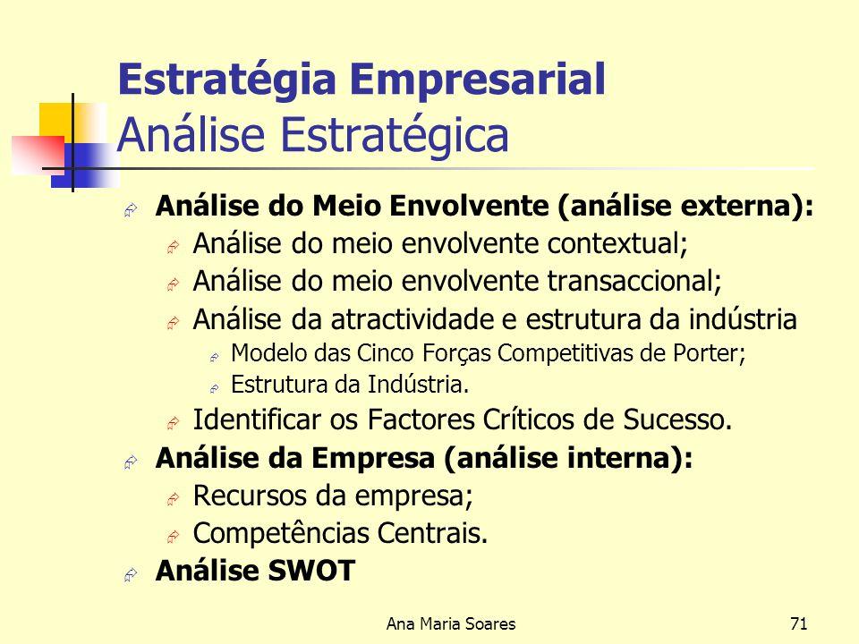 Ana Maria Soares70 Estratégia Empresarial Modelo de Estratégia Empresarial Análise Estratégica Análise do Meio Envolvente Análise da Empresa Estrutura