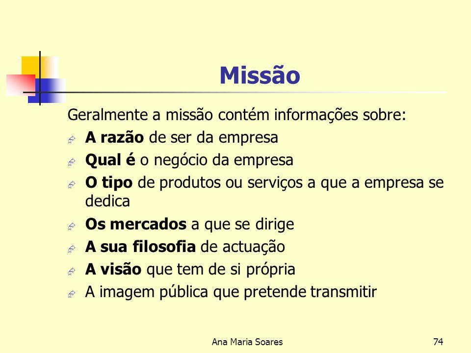 Ana Maria Soares73 CONDIÇÕES NECESSÁRIAS PARA A IMPLEMENTAÇÃO DA ESTRATÉGIA Visão Inspiração da estratégia para todos os membros da organização Missão