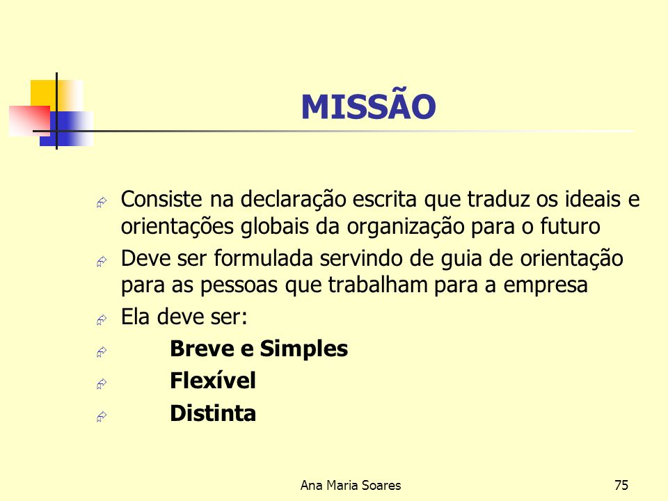 Ana Maria Soares74 Missão Geralmente a missão contém informações sobre: A razão de ser da empresa Qual é o negócio da empresa O tipo de produtos ou se