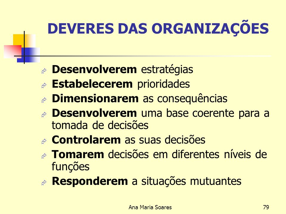 Ana Maria Soares78 Missão: Deve Incluir Os clientes Os produtos ou serviços Os principais mercados As convicções da empresa face à sociedade e a sua c