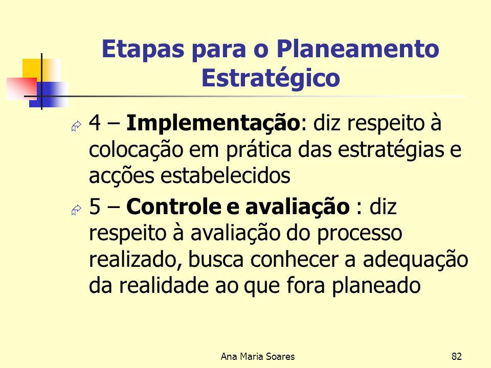 Ana Maria Soares81 Etapas para o Planeamento Estratégico 2- Fixação de objectivos; diz respeito à definição do que se quer obter num período de tempo específico 3- Estabelecimento de estratégias e de acções definição dos caminhos e atitudes que permitirão alcançar os objectivos predefinidos