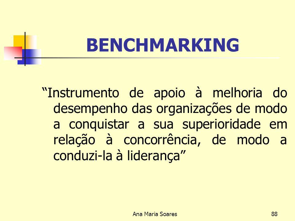 Ana Maria Soares87 CADEIA DE VALOR (Cont.) Entender a relação e interacção entre três espaços Espaço cognitivo de utente; Espaço de competência e profundidade da Organização; Espaço de recurso.