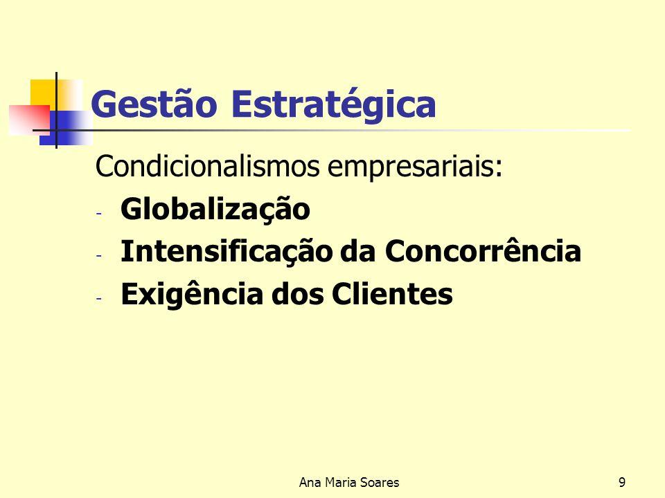 Ana Maria Soares8 Gestão Estratégica Conhecimento das condicionantes do ambiente específico e das suas alterações, já que o grande desafio de qualquer organização é precisamente a constante alteração das condições do meio ambiente, em ritmo cada vez mais difícil de prever