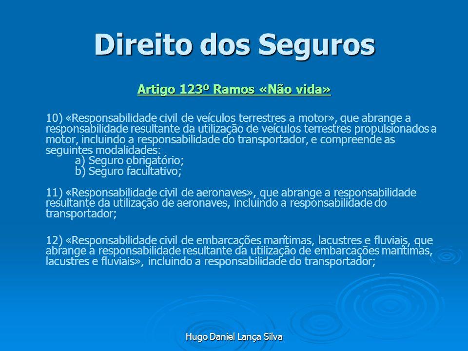 Hugo Daniel Lança Silva Direito dos Seguros Artigo 123º Ramos «Não vida» 10) «Responsabilidade civil de veículos terrestres a motor», que abrange a re