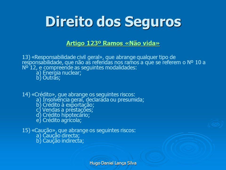 Hugo Daniel Lança Silva Direito dos Seguros Artigo 123º Ramos «Não vida» 13) «Responsabilidade civil geral», que abrange qualquer tipo de responsabili