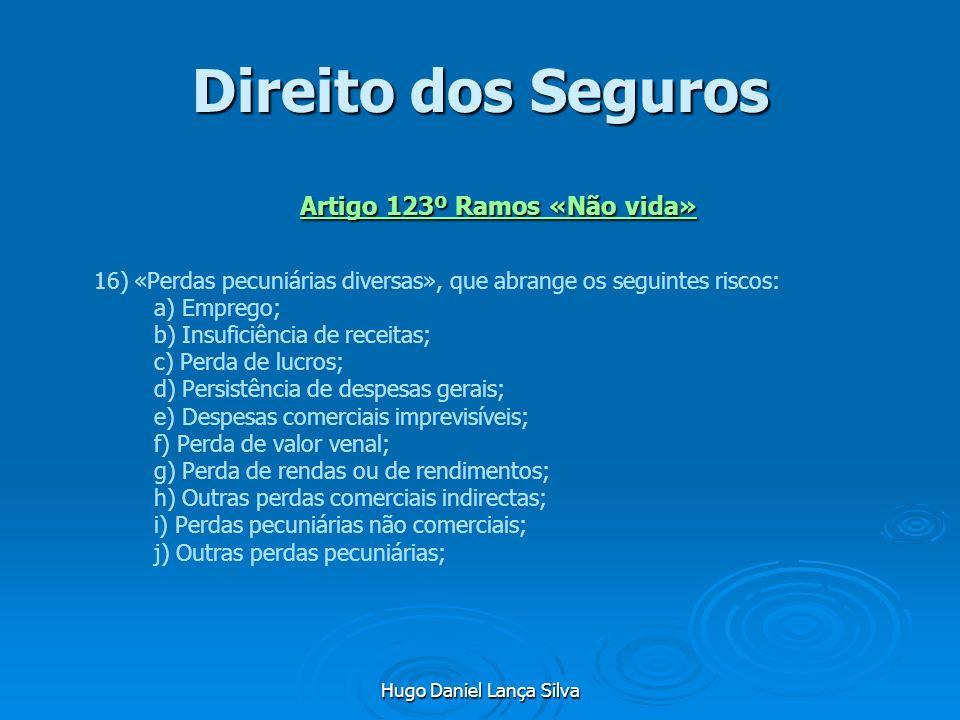 Hugo Daniel Lança Silva Direito dos Seguros Artigo 123º Ramos «Não vida» 16) «Perdas pecuniárias diversas», que abrange os seguintes riscos: a) Empreg