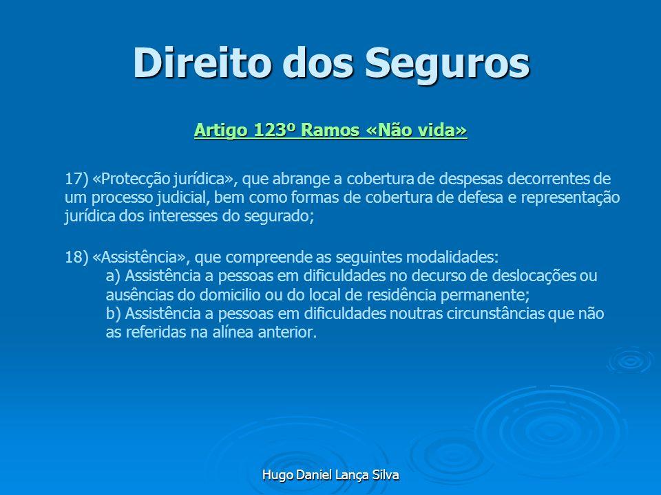 Hugo Daniel Lança Silva Direito dos Seguros Artigo 123º Ramos «Não vida» 17) «Protecção jurídica», que abrange a cobertura de despesas decorrentes de