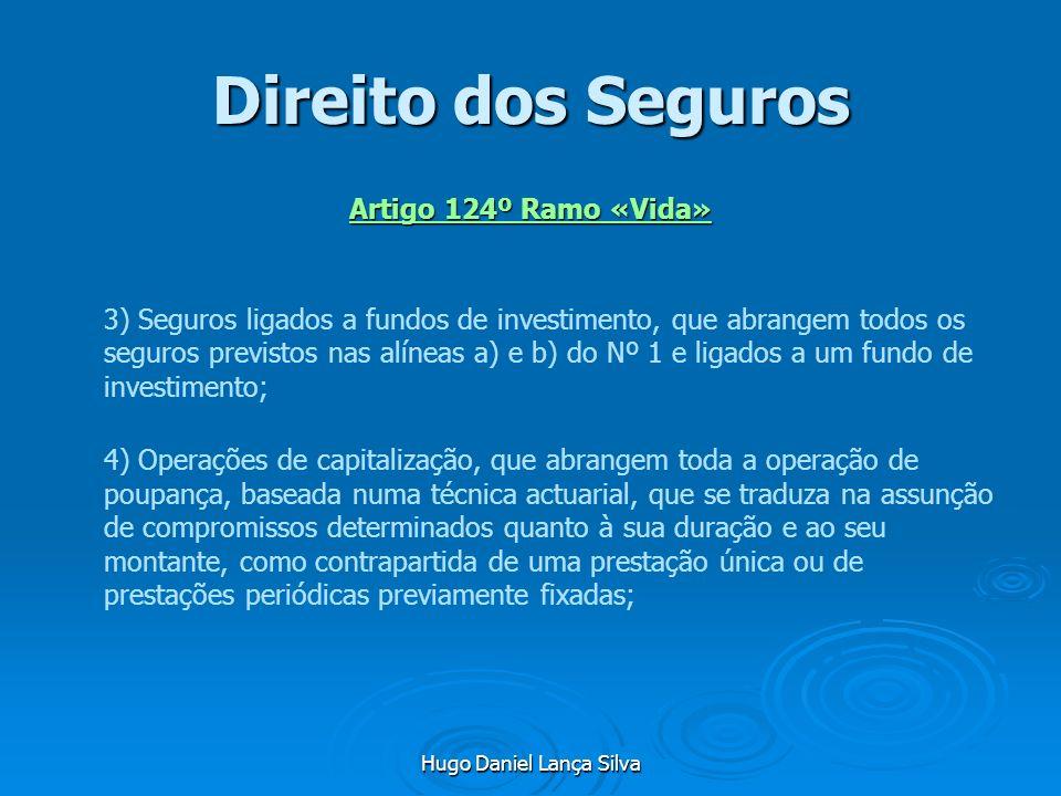 Hugo Daniel Lança Silva Direito dos Seguros Artigo 124º Ramo «Vida» 3) Seguros ligados a fundos de investimento, que abrangem todos os seguros previst