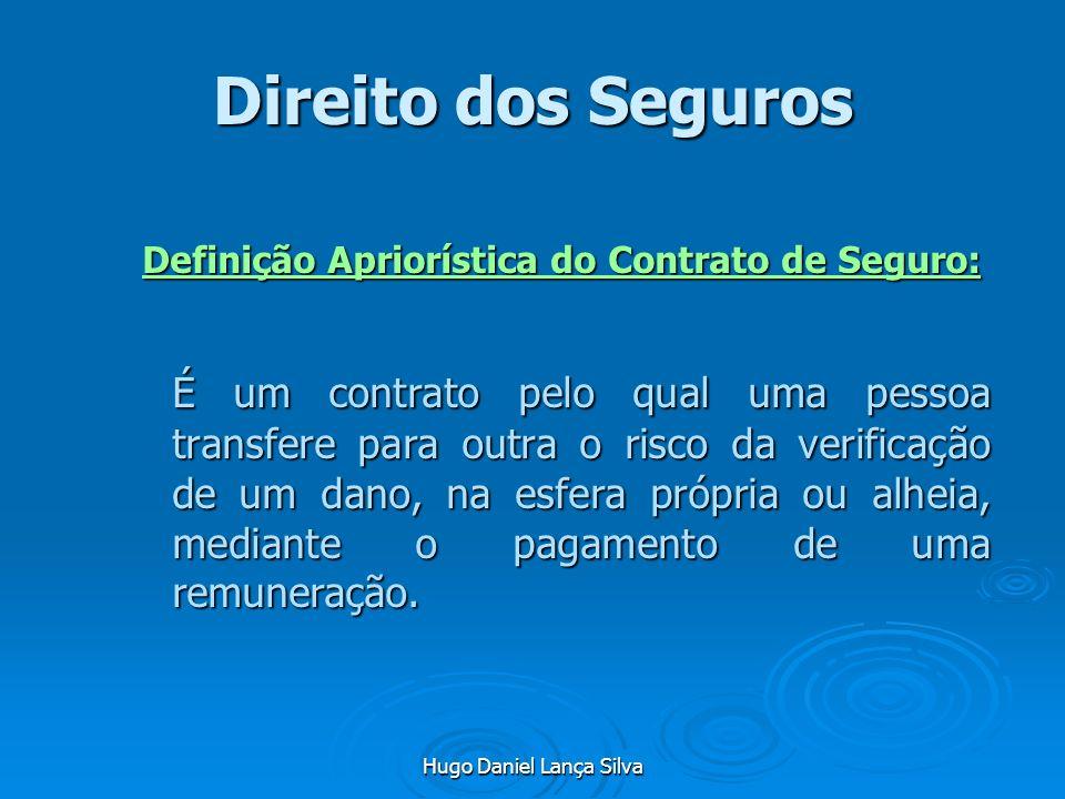 Hugo Daniel Lança Silva Direito dos Seguros Definição Apriorística do Contrato de Seguro: É um contrato pelo qual uma pessoa transfere para outra o ri