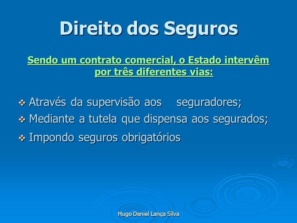 Hugo Daniel Lança Silva Direito dos Seguros Sendo um contrato comercial, o Estado intervêm por três diferentes vias: Através da supervisão aos segurad