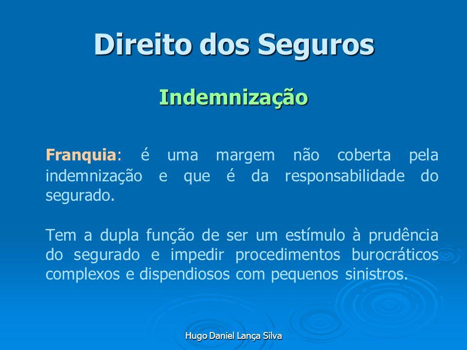 Hugo Daniel Lança Silva Direito dos Seguros Indemnização Franquia: é uma margem não coberta pela indemnização e que é da responsabilidade do segurado.