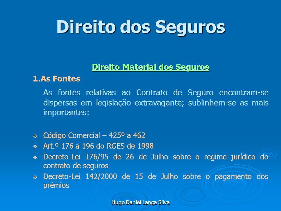 Hugo Daniel Lança Silva Direito dos Seguros Direito Material dos Seguros 1.As Fontes As fontes relativas ao Contrato de Seguro encontram-se dispersas