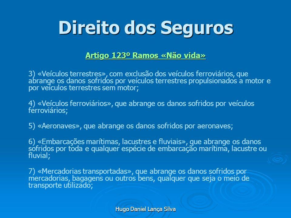 Hugo Daniel Lança Silva Direito dos Seguros Artigo 123º Ramos «Não vida» 3) «Veículos terrestres», com exclusão dos veículos ferroviários, que abrange