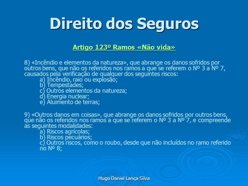 Hugo Daniel Lança Silva Direito dos Seguros Artigo 123º Ramos «Não vida» 8) «Incêndio e elementos da natureza», que abrange os danos sofridos por outr