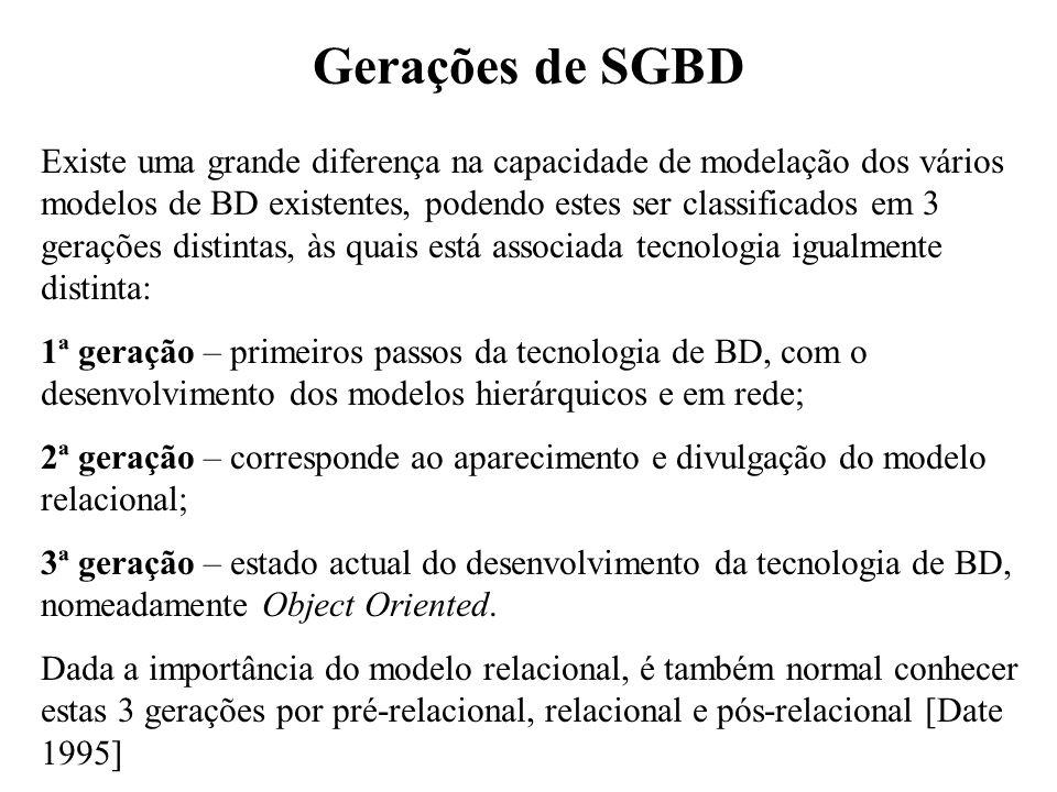 Gerações de SGBD Existe uma grande diferença na capacidade de modelação dos vários modelos de BD existentes, podendo estes ser classificados em 3 gera