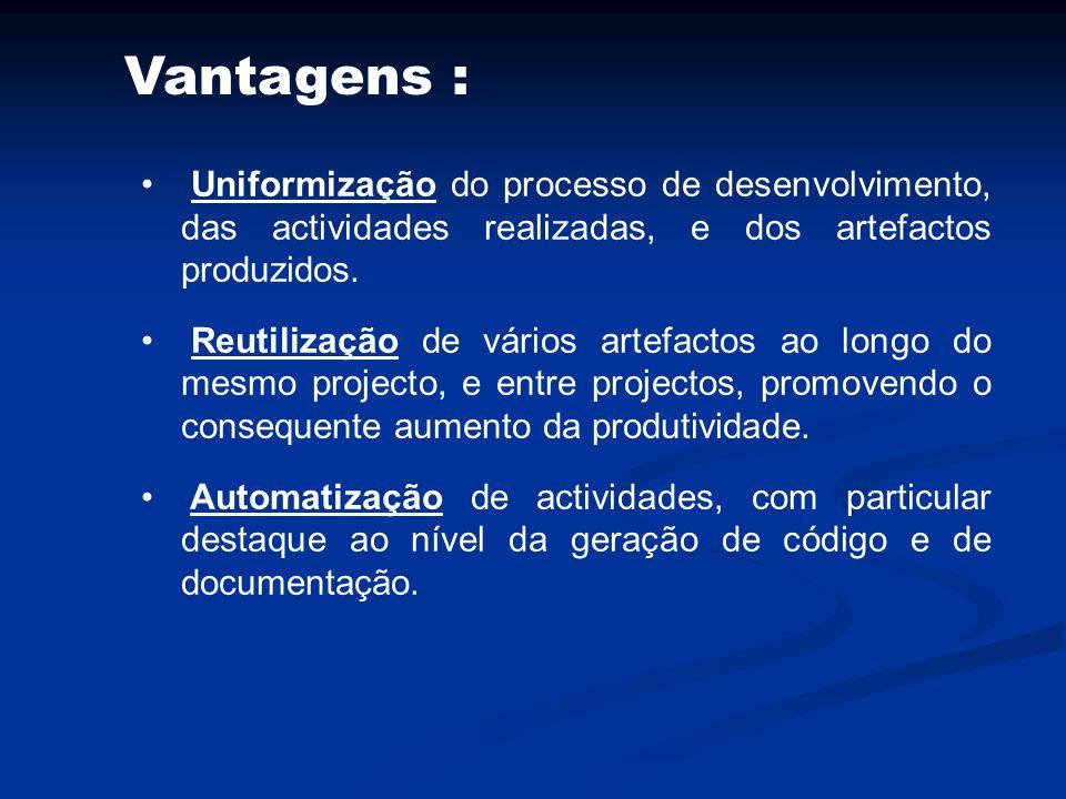 Vantagens : Uniformização do processo de desenvolvimento, das actividades realizadas, e dos artefactos produzidos. Reutilização de vários artefactos a