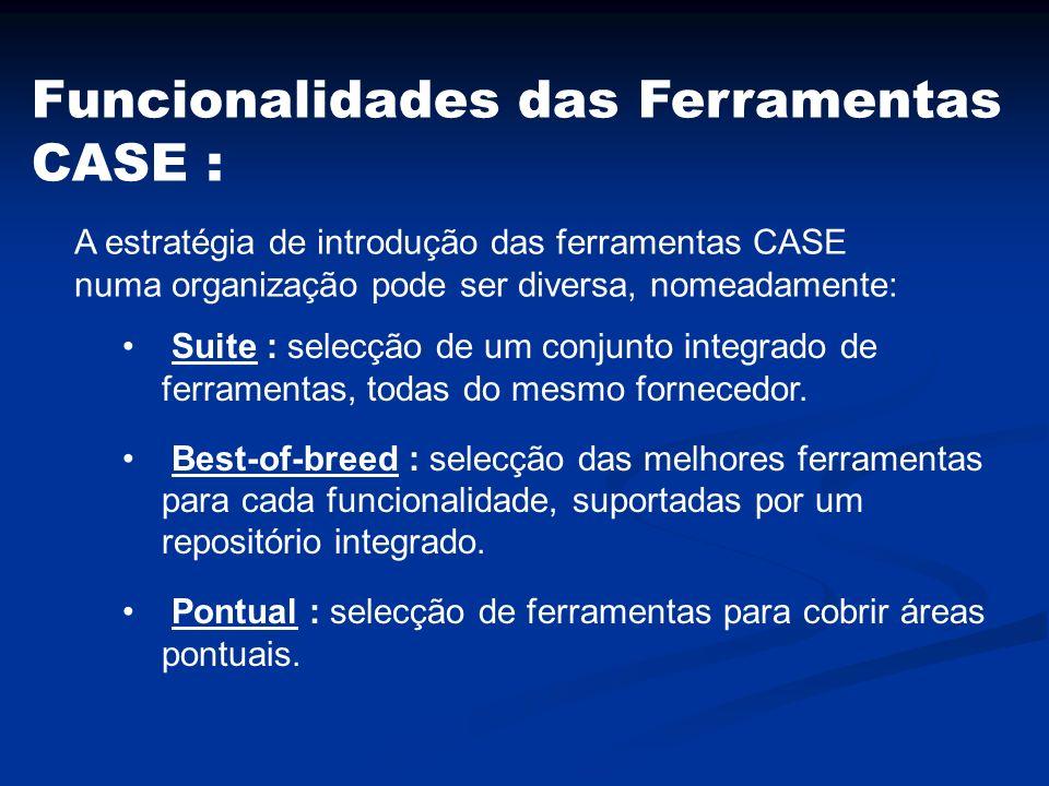 Funcionalidades das Ferramentas CASE : A estratégia de introdução das ferramentas CASE numa organização pode ser diversa, nomeadamente: Suite : selecç