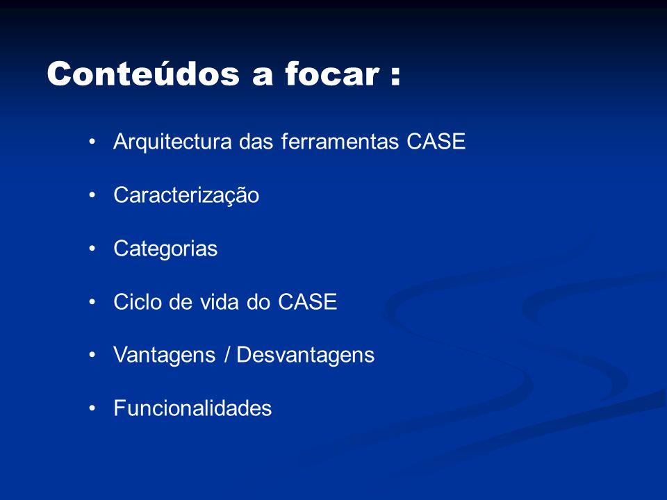 Conteúdos a focar : Arquitectura das ferramentas CASE Caracterização Categorias Ciclo de vida do CASE Vantagens / Desvantagens Funcionalidades