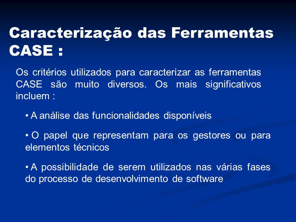 Caracterização das Ferramentas CASE : Os critérios utilizados para caracterizar as ferramentas CASE são muito diversos. Os mais significativos incluem