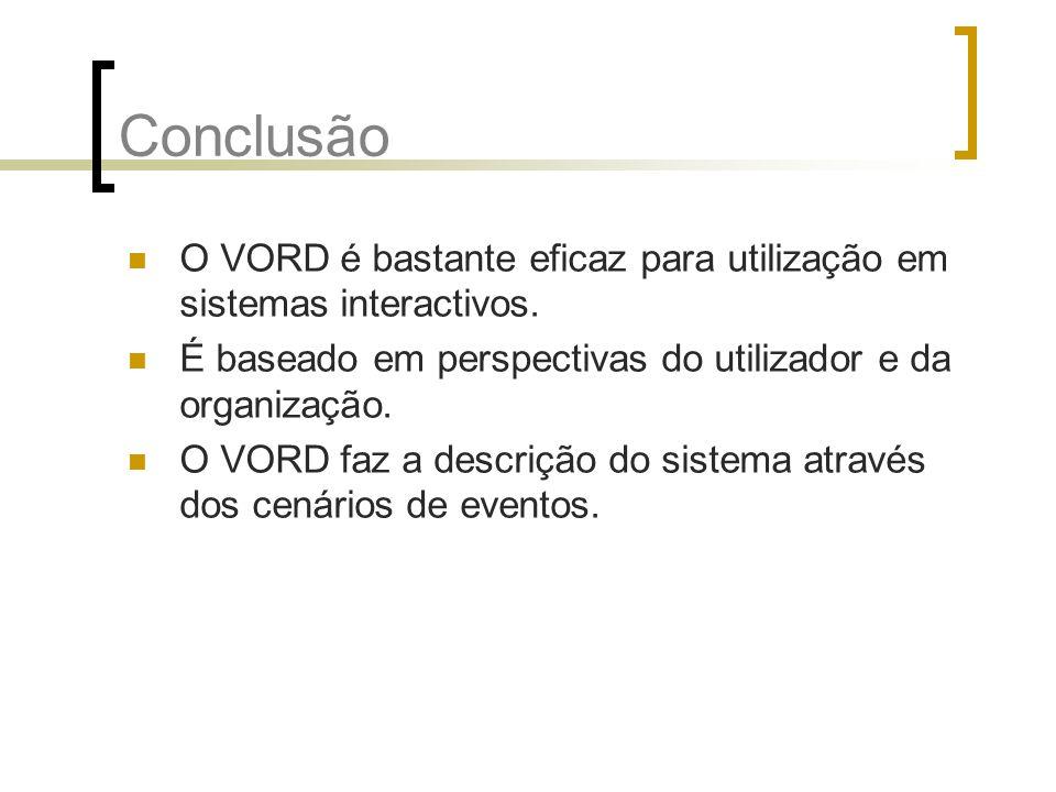 Conclusão O VORD é bastante eficaz para utilização em sistemas interactivos. É baseado em perspectivas do utilizador e da organização. O VORD faz a de