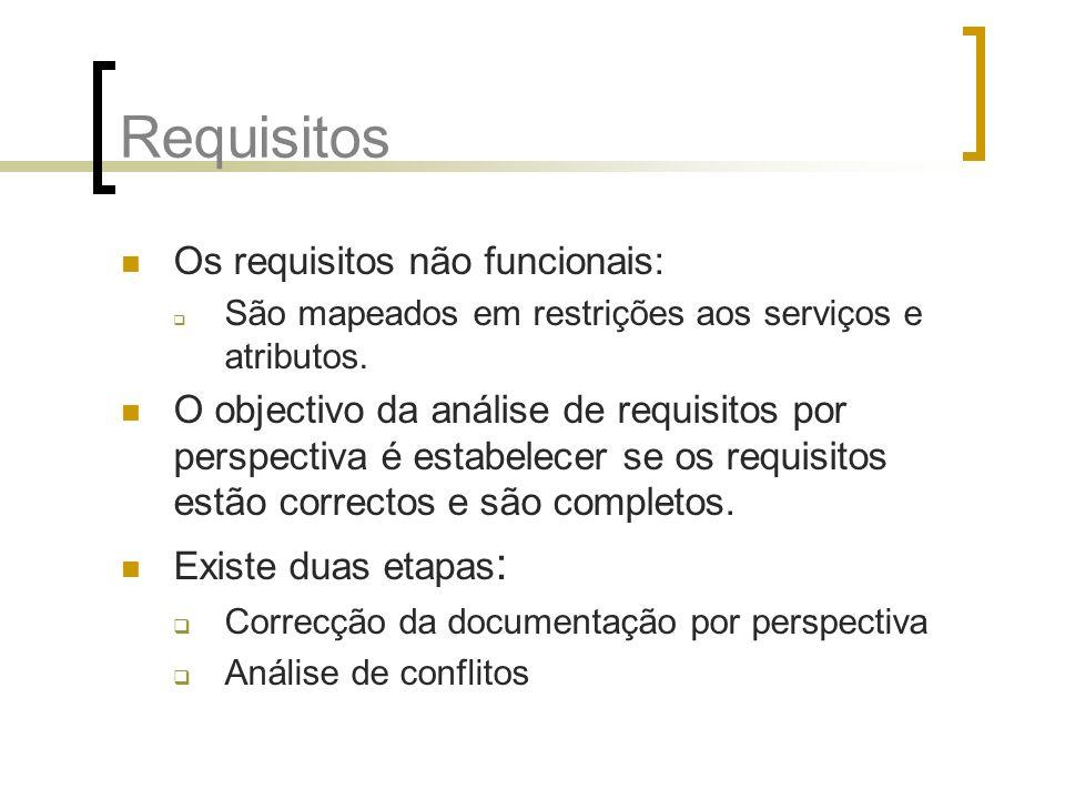 Requisitos Os requisitos não funcionais: São mapeados em restrições aos serviços e atributos. O objectivo da análise de requisitos por perspectiva é e