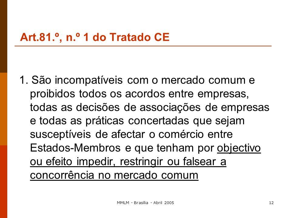 MMLM - Brasília - Abril 200511 A proibição das coligações A estrutura do art. 81.º n.º 1: a proibição n.º 2: a sanção n.º 3: a excepção