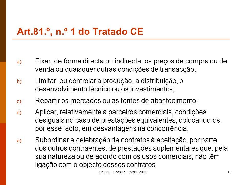 MMLM - Brasília - Abril 200512 Art.81.º, n.º 1 do Tratado CE 1. São incompatíveis com o mercado comum e proibidos todos os acordos entre empresas, tod