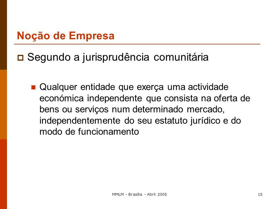 MMLM - Brasília - Abril 200514 proíbe os acordos, decisões de associações de empresas e práticas concertadas... susceptíveis de limitar de forma sensí