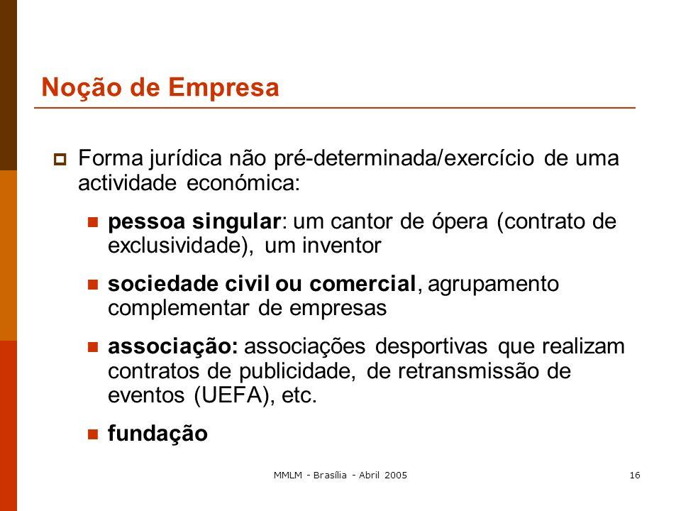 MMLM - Brasília - Abril 200515 Noção de Empresa Segundo a jurisprudência comunitária Qualquer entidade que exerça uma actividade económica independent