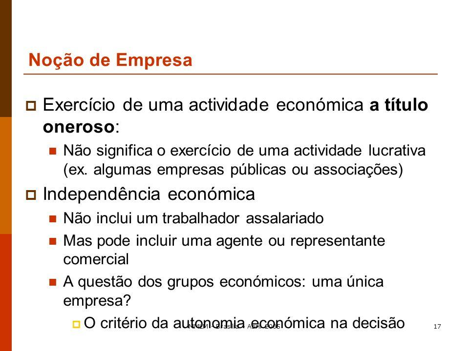 MMLM - Brasília - Abril 200516 Forma jurídica não pré-determinada/exercício de uma actividade económica: pessoa singular: um cantor de ópera (contrato