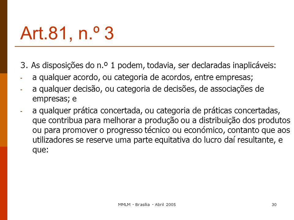 MMLM - Brasília - Abril 200529 Art. 81.º, n.º 2 Nulidade das cláusulas ou do acordo, decisão ou prática