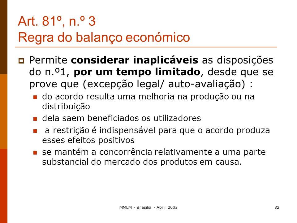 MMLM - Brasília - Abril 200531 Art.81, n.º 3 a) Não imponham às empresas em causa quaisquer restrições que não sejam indispensáveis à consecução desse