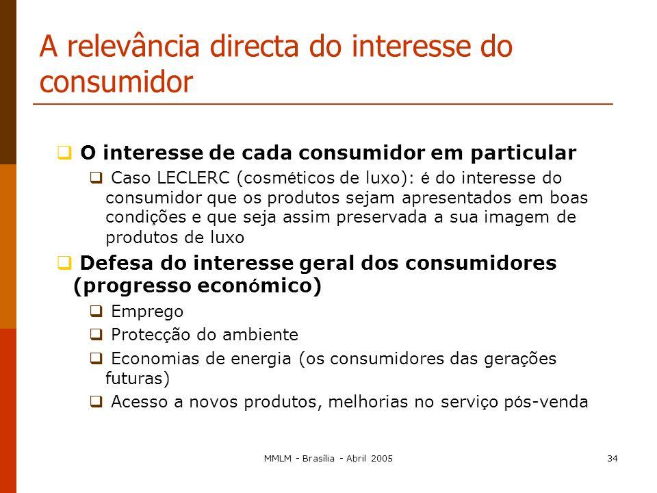 MMLM - Brasília - Abril 200533 A relevância directa do interesse do consumidor O que são consumidores? Consumidor é todo aquele a quem sejam fornecido